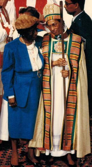 Bishop Barbara Harris pictured with her mother at 1989 consecration service