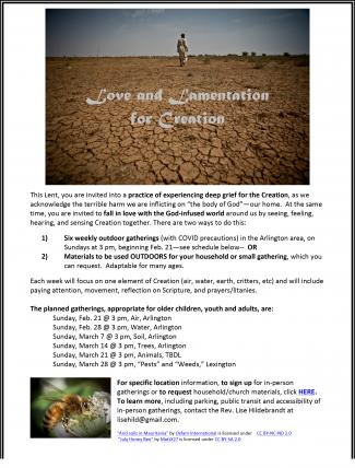 Love and Lamentation for Creation Series Flier