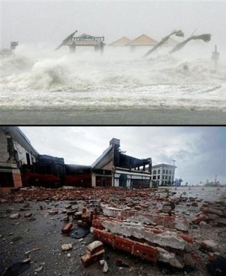 Hurricane Gustav at its height and in the aftermath