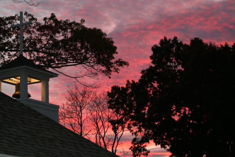 Advent message Duxbury chapel sunset