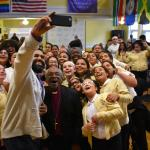 Esperanza students take selfie with Bishop Curry